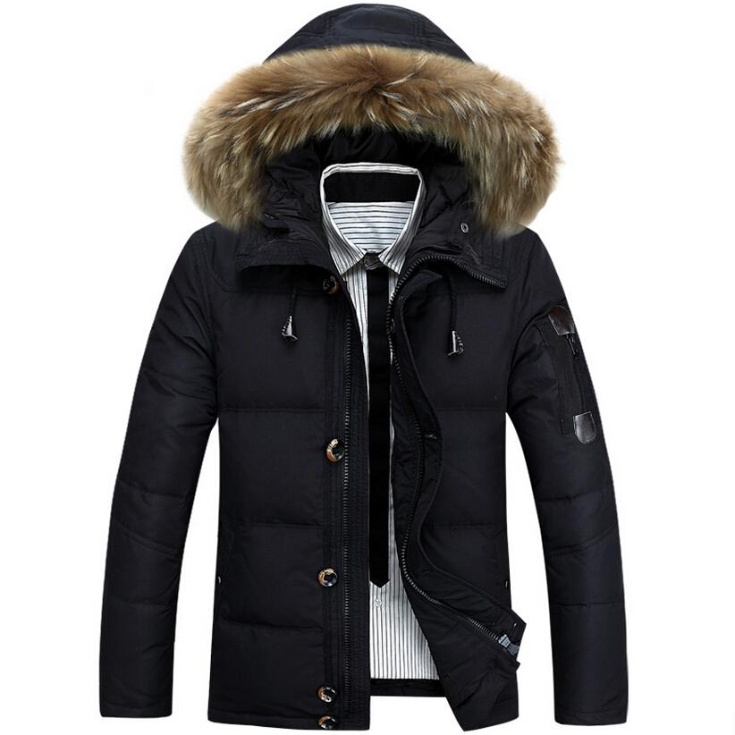 Здесь можно купить  2015 Men Winter Jacket Fur collar Thickening Warm Brand Coat Men Duck Down Jacket Coat Casual Men Down Jacket Plus Size XXXL  Одежда и аксессуары
