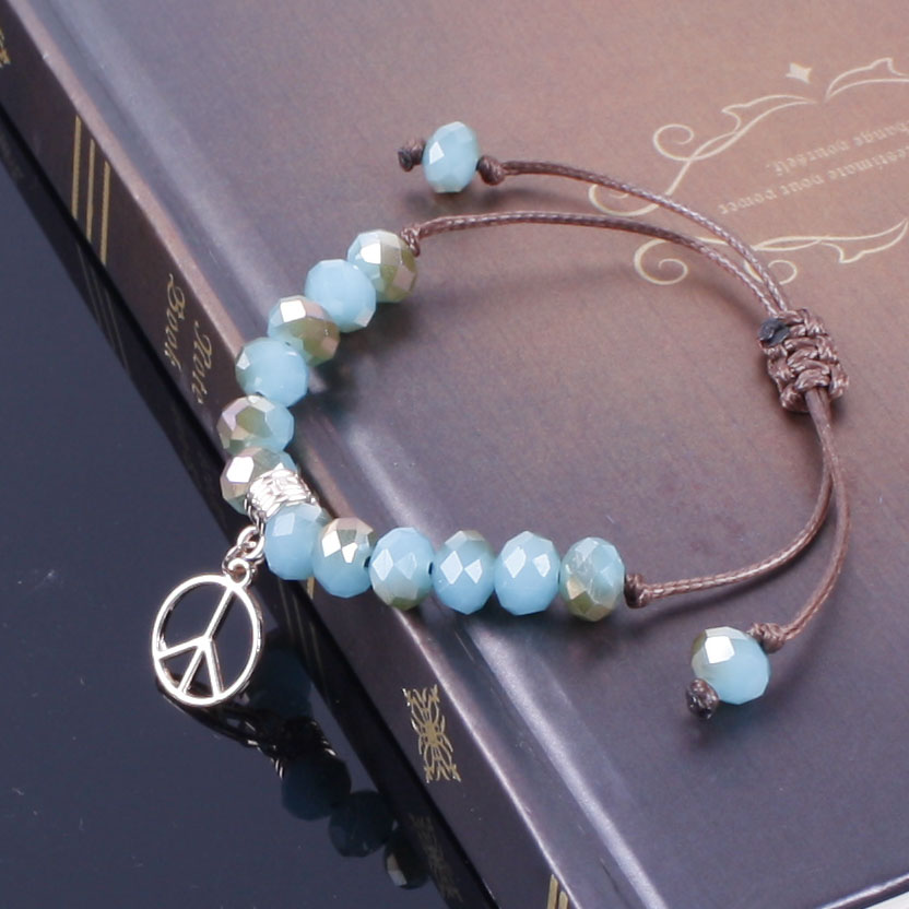 boho Bracelet crystal Bead with Peace Sign / tree / Clover / palm Bracelet Adjustable Friendship Bead Bracelet Jewelry wholesale(China (Mainland))