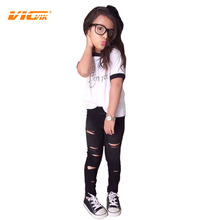 VICVIK brand Summer Short Sleeve T Shirt and Legging Girls Clothes Sets 2pieces Fashion OK Style 100%cotton Casual Hole Design(China (Mainland))