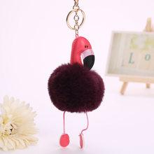 Fantasia & Saco de Fantasia Moda Feminina Fofo Pom Rosa Flamingo do Anel Chave de Cadeia Bolsa saco Titular Chaveiro Pingente de Acessórios de Carro presente(China)
