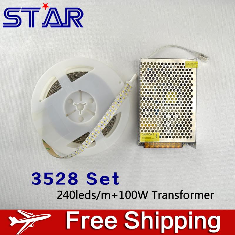 3528 LED Strip Light Waterproof 12V 240leds/m Ledstrip with 8.5A 100W LED Power Adatper Transformer for Car/Ceiling/Cabinet Deco(China (Mainland))