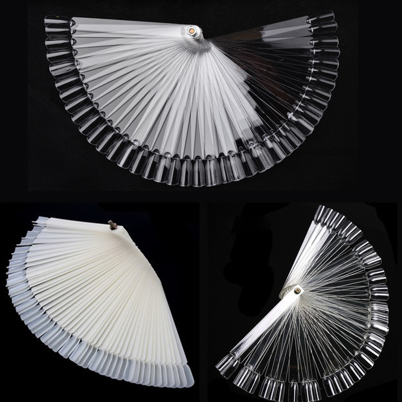 50Pcs/Set Women Ladies False Nail Art Tips Board Sticks Polish Display Fan Practice Tool Nude/Clear Makeup Tools(China (Mainland))