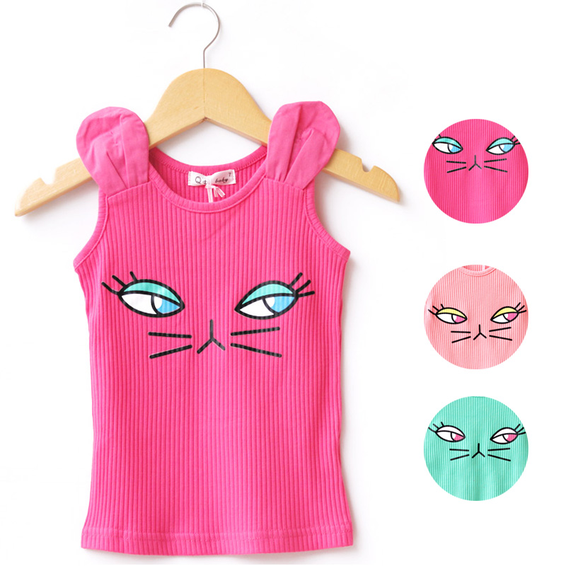 Children's Clothes Baby Tops Girls Tank Kids Summer T Shirts Infant Vest 2016 Fashion Cartoon Cat Printed Toddler T-Shirts(China (Mainland))