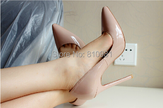 Nude Color Patent Leather Pointed Shoes Thin Heel Classic Red Bottom High-heeled Daffodil Women Big Size 34-45