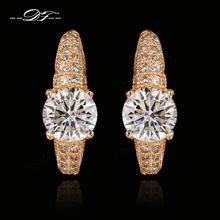 Austrian CZ Diamond Fashion Brand Stud Earrings 18KRGP Vintage Summer Style Ear Cuff Jewelry For Women Wholesale Brincos DFE560M(China (Mainland))