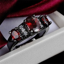 GALAXY Unique Black Gold Filled 3pcs Red Crystal Ruby Zircon Wedding Rings For Women New Fashion