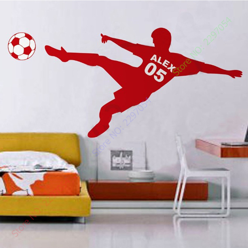 New Football Soccer Ball Personalized Name & Number Vinyl Wall Wall Decal Poster Wall Art Children Wall Sticker Kids Room Decor(China (Mainland))