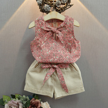 3 Years –7 Years 2016 Toddler Girls Clothing Sets Floral Bow Small Fresh Cotton Sleeveless summer Kids Clothes Girls