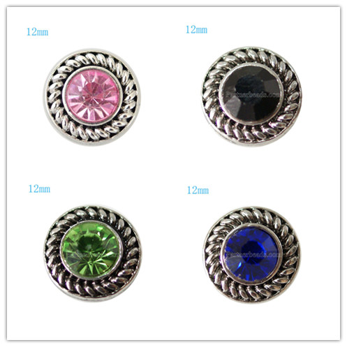 10pcs/lot Partnerbeads 9 color metal small 12mm snap button fit 12mm button bracelet jewelry KB7241-S(China (Mainland))
