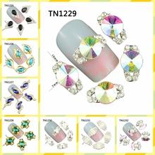 10 Pcs/Lot Glitter Colorful Crystal Nail Decorations Rhinestones DIY Tools For 3D Charms Alloy Nail Art  TN1225-1232(China (Mainland))