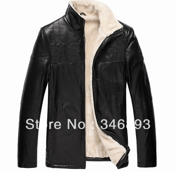Luxury Genuine Real Sheepskin Sheep Skin Leather Jacket Jackets Coat Coats For Men Mens Winter ...