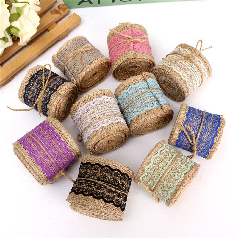 2M DIY Craft Lace Ribbon Sewing Tape Natural Jute Hessian Roll Burlap Trims Tape Rustic Wedding