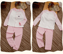 2015 New Arrival High Quality Kids Pajama Sets Boys Girls Organic Cotton Round Neck Babies Suit for Spring Autumn 1022(China (Mainland))