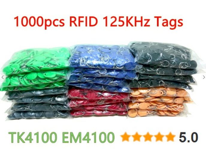 100pcs RFID 125KHz Tag 8 Color TK4100 EM4100 Proximity Keyfobs Tags RFID Card for Access Control Time Attendance(China (Mainland))