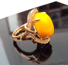Size adjustable jewelry 18k gold yellow Beads Filled white CZ multi tiny Topaz Ring landscape FREE SHIPPING(China (Mainland))
