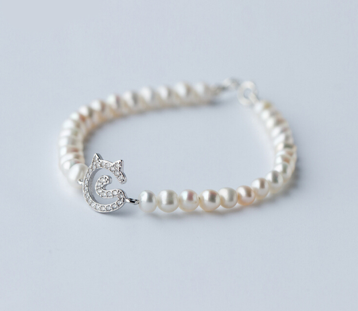 "925 Sterling Silver Lovely CZ Cat Charm Freshwater Pearl Bracelet 6.7"" A2372(China (Mainland))"
