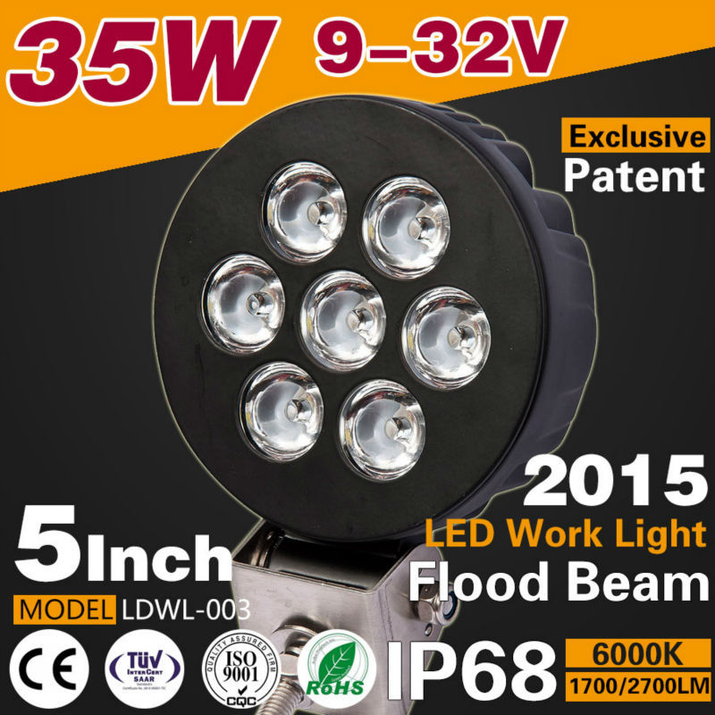2015 new products 5Inch 35W 2700LM LED Car Work light spot/flood light 9-32v Tractor Boat Off-Road 4WD Truck SUV car accessories(China (Mainland))