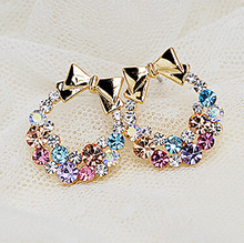 Hot Sale 2016 New Fashion Earings For Women Colorful Rhinestone Butterfly Bow Earrings Vintage Jewelry ,Crystal Earring E221(China (Mainland))