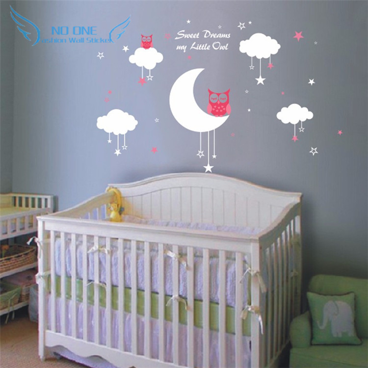 """Personalized name """" Sweet Dreams for Little Owl """" Cloud star Nursery Wall Decals Vinyl Lettering Wall Art For Kids Room Decor(China (Mainland))"""