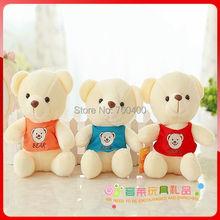 Wholesale & Free Shipping! 7″ sitting teddy bear with T-shirt, shirt bear birthday gifts