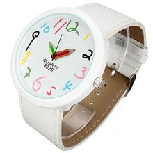 Grandes casos Womage marca mujeres Pointer Girls correa de cuero cuarzo blanco lápiz reloj de pulsera 14MN