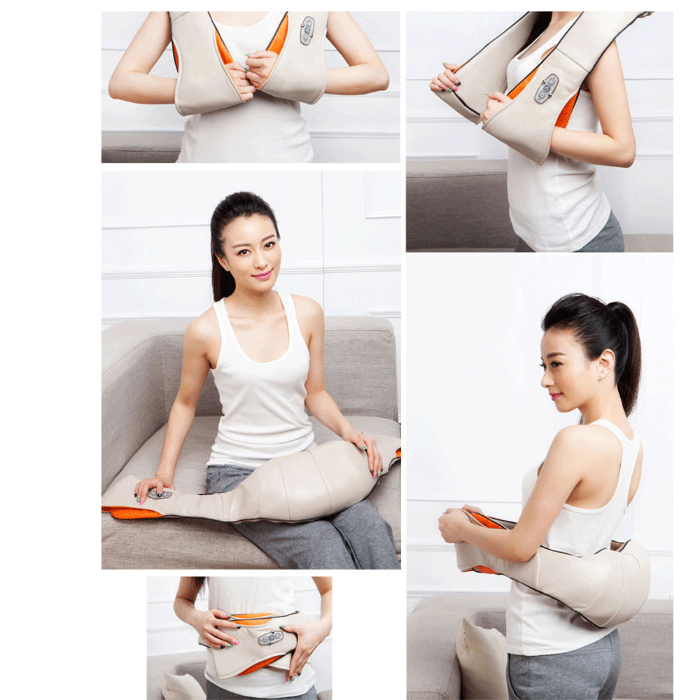 New Fashion Multi-function Convenient Massage Heating Type Car Home Dual-Use Kneading 24W Rated Power Off-White Massage Shawl(China (Mainland))
