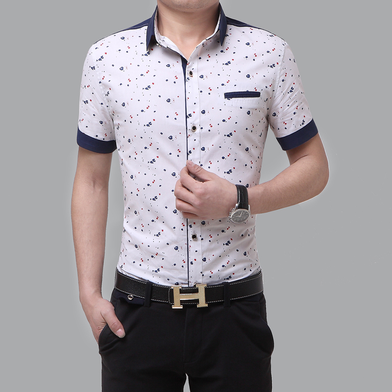 2016 new arrival summer style fashion slim fit short for Mens short sleeve floral shirt