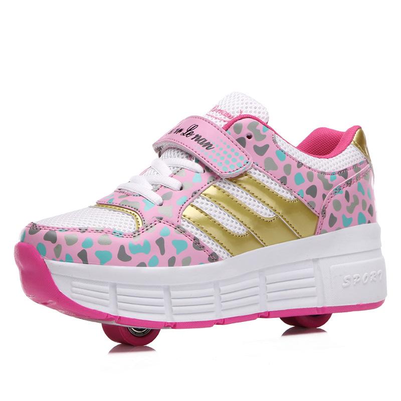Fashion Wheel Heelys Kids Roller Shoes Children Automatic 2 Wheels Boy Girls Mesh Sport Skating 5209