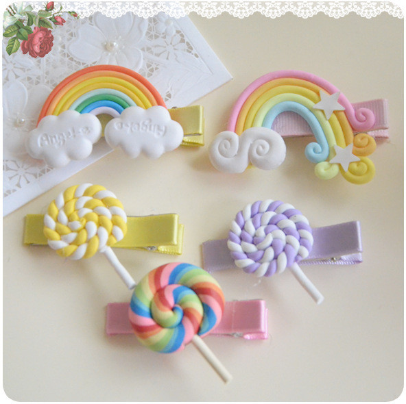2015 summer style fashion girls hair accessories clip hairpin barrette pin gum for kids baby rainbow lollipop kk1007 2pcs/lot(China (Mainland))