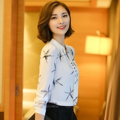 2016 Spring plus size female office shirt womens chiffon blouse ladies White elegant sexy v-neck blouses 585A 20 - Annie zeng Store store