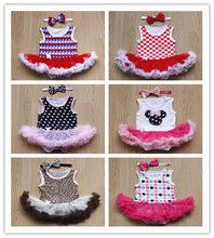 Newborn/Infant/Baby Girl Sleeveless Bodysuits With Bow+Tutu Skirt+Headband Polka/Leopard/Plaid/Star/Floral Lace Summer Vest (China (Mainland))