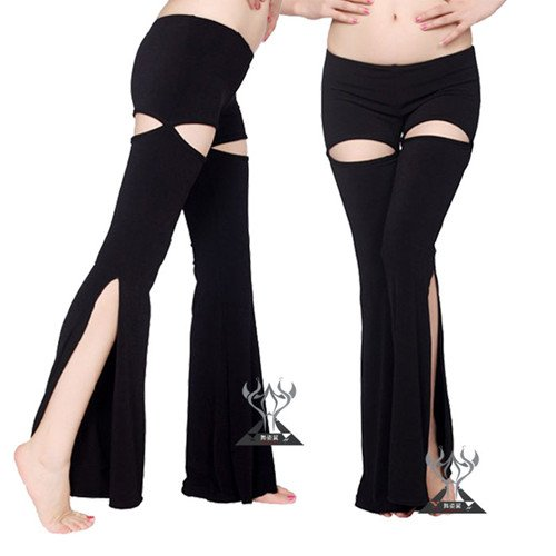 Sexy Belly Dance Pants,Split On The Front And Back,Unique Style,Practice Belly Dance Trousers,Black Color In Stock(China (Mainland))