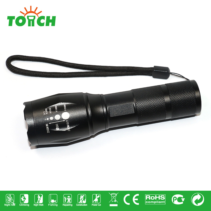 2016 popular high power led flashlight waterproof IPX6 hand lamp tactical 5 mode T6 LED torch light long focus beam lanternas(China (Mainland))
