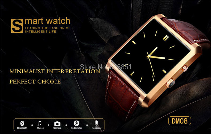 Bluetooth 4.0 Smart Watch DM08 Wrist Watch Camera for Android & IOS(for Iphone) Wrist Watch Sync whatsapp facebook Pedometer(China (Mainland))