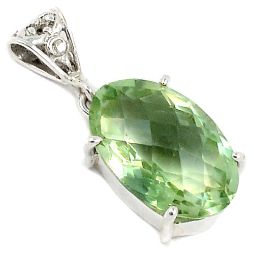 Genuine Green Amethyst Pendant 100% 925 Sterling Silver Jewelry 32 MM AP1005(China (Mainland))