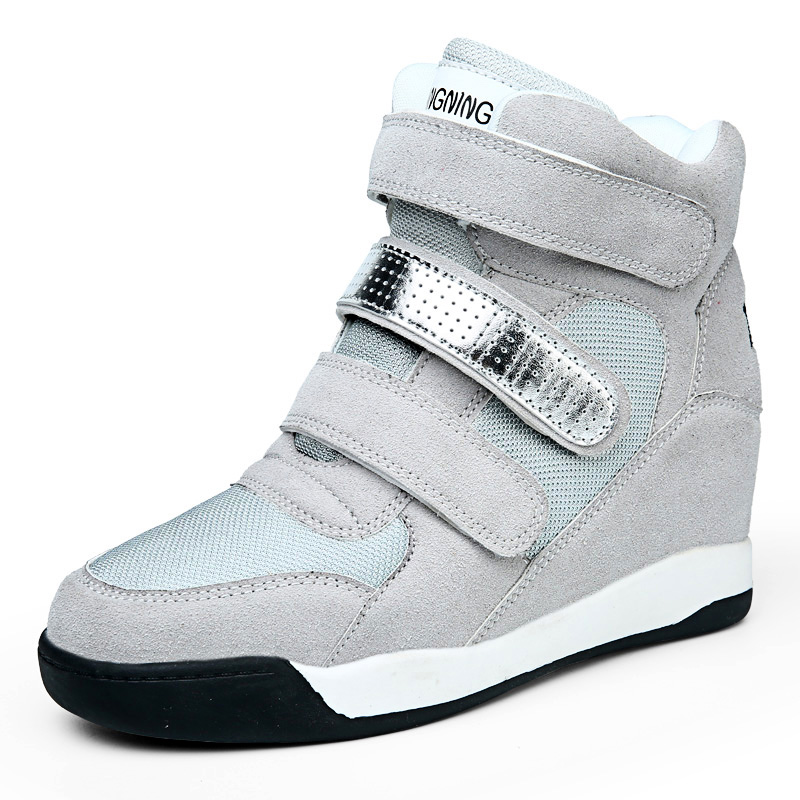 2015 New Fashion Women's Elevator Shoes Jogger Air Revolution Sky Hi Height Increasing Shoes Women's Top Ankle walking Shoes(China (Mainland))