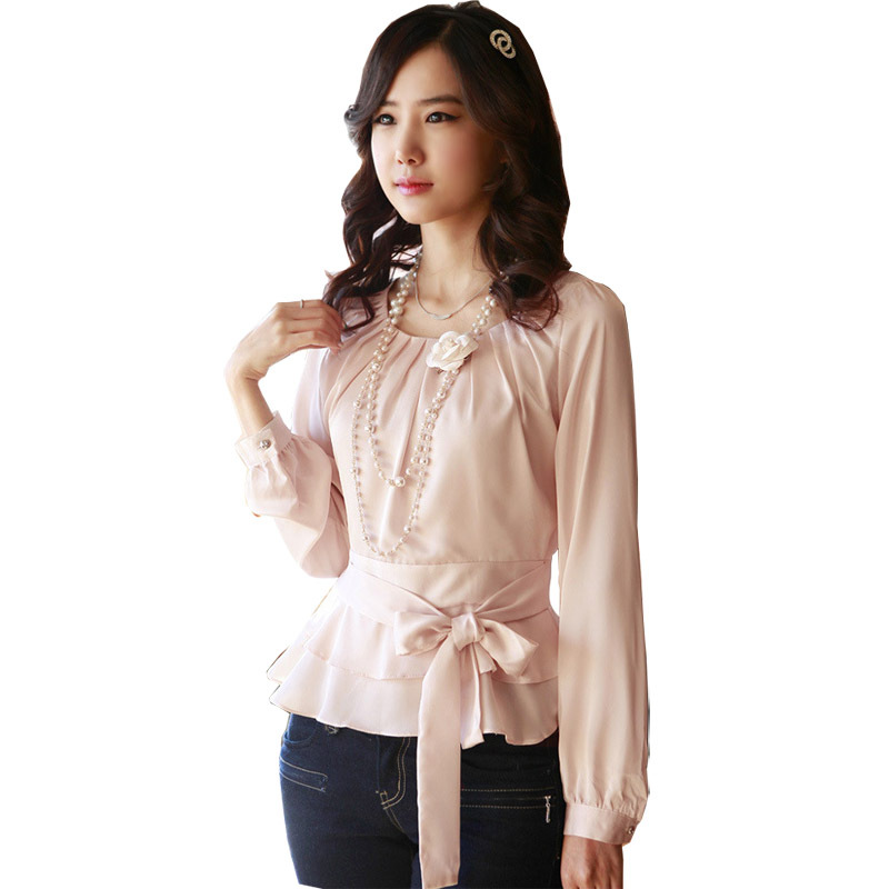 Beauty Career Lady Fashion Chiffon Blouse Size S-2XL Korean White & Pink Smart Waist Rayon Sweet Women Casual Dress Shirts - Natural Clothing store