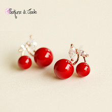 Love red coral cherry earings leaf bead jewelry vintage dangle earrings Women High qualitycute gift(China (Mainland))