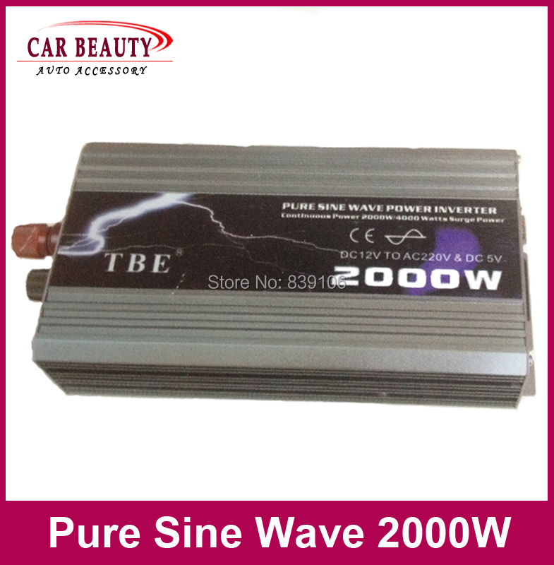 New Arrive 2000W Power Inverter Pure Sine Wave USB DC 12V 24V to AC 220V Solar Power Inverter Peak Power 4000W Free Shipping(China (Mainland))