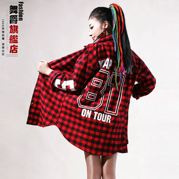 Hot! New Fashion Women Gossip design plaid Long sleeve outerwear dance leotard top hiphop hip-hop loose female ds tops
