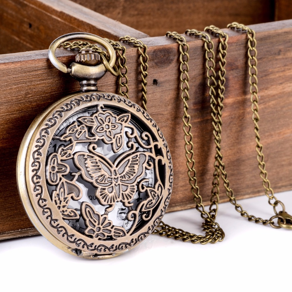 Antique Bronze 8 Style Horses Butterfly Owl Quartz Pocket Watch With Sweater Necklace Chain Steampunk Men Women Fob Gift(China (Mainland))