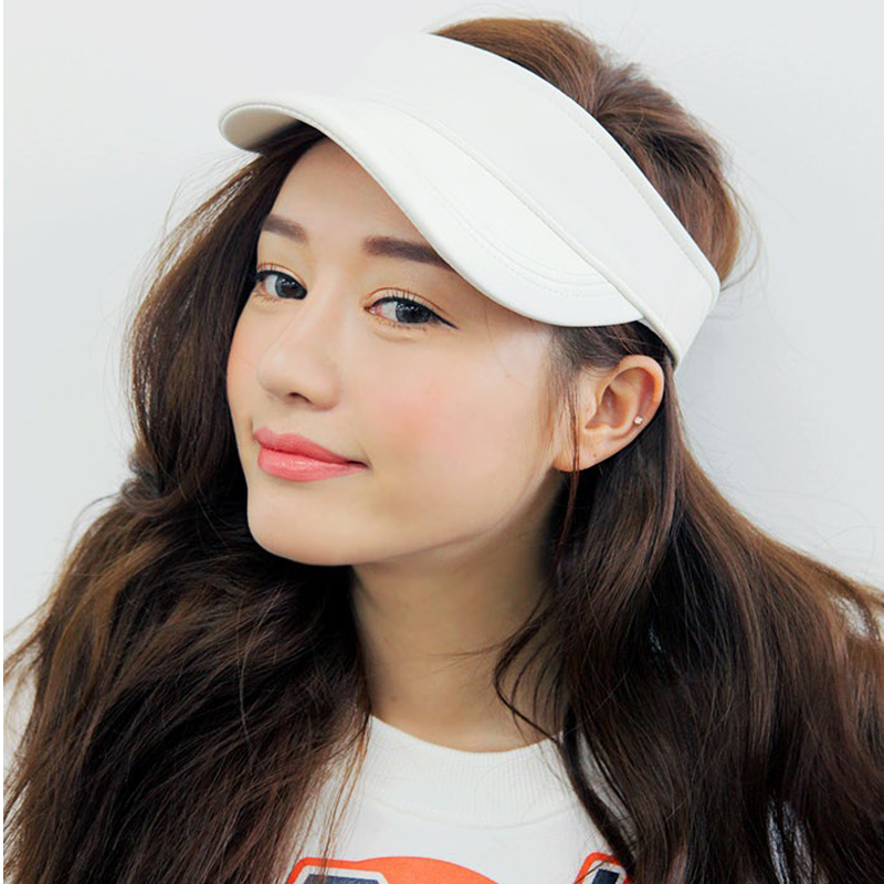 2016 Hot New Girls White PU Leather Visor Hats Women Empty Top Hat Solid Color Faux Leather Curved Baseball Cap(China (Mainland))