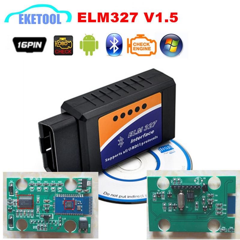 ELM327 V1.5 Supports More Cars 100% Hardware V1.5 ELM 327 Bluetooth 1.5 Car OBD2 Diagnostic Code Reader Works Android Torque/PC(China (Mainland))
