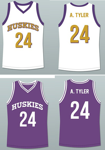 Movie Jersey Kadeem Hardison Antoine Tyler #24 Huskies Basketball 6th White Purple Men's Embroidery basketball jersey