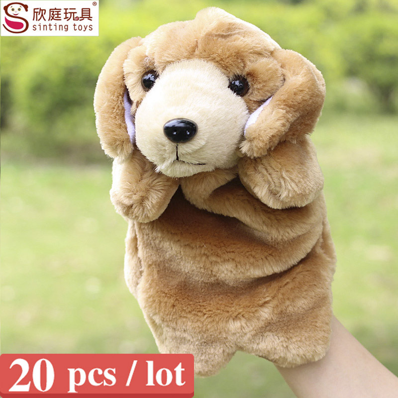 Sale the dog hand puppets for kids plush anmial hand puppet doll large size dog finger puppets 20 pcs / lot(China (Mainland))