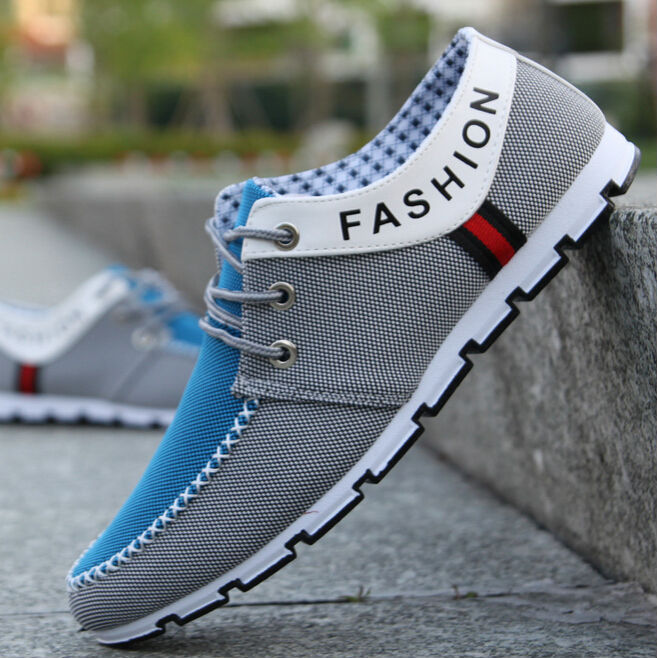 Hot Size 39-44 Fashion Summer Men's Striped Canvas Low Style Lace Up Casual Walking Sneakers Board Shoes Fashion Flat Shoes(China (Mainland))