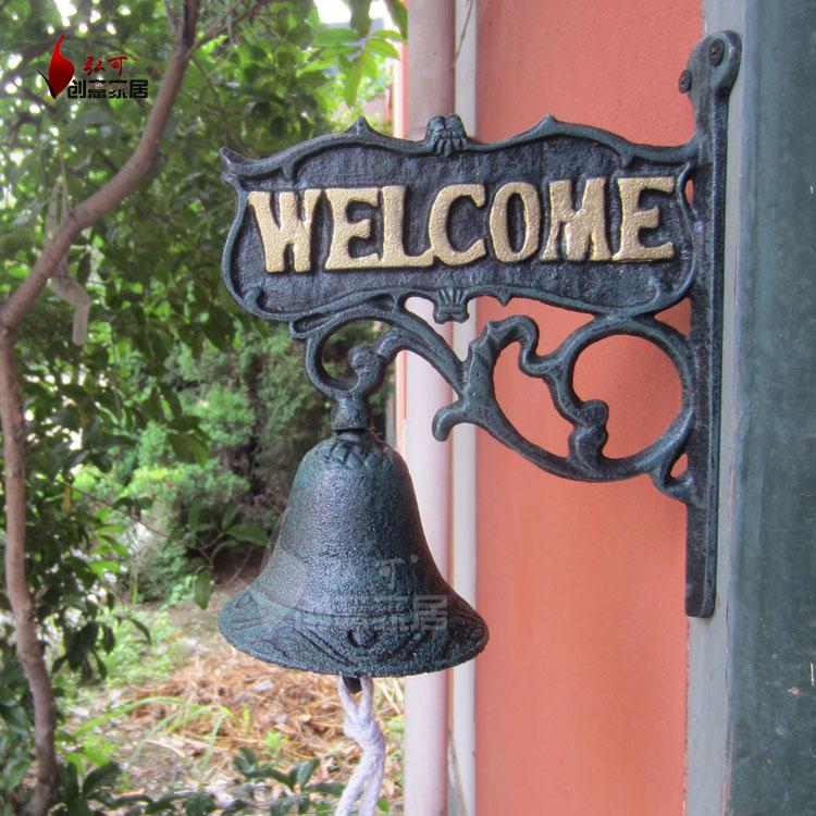 Handmade Wrought iron door bell fashion vintage rustic wall hanging bell hangings handbarrows antique design welcome doorbell(China (Mainland))