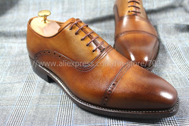 Free shipping custom handmade genuine calf leather mens oxford shoe color brown No.OX200 goodyear welt<br><br>Aliexpress