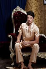 Fashion Gold Solid Short Sleeve Pajama For Men Button Turn-down Collar Pijamas Masculinos Emulation Silk Sleepwear Casual 1911(China (Mainland))