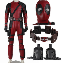 Deadpool costume Hot 2016 font b Movie b font superhero Red Leather Jumpsuit Deadpool cosplay costume